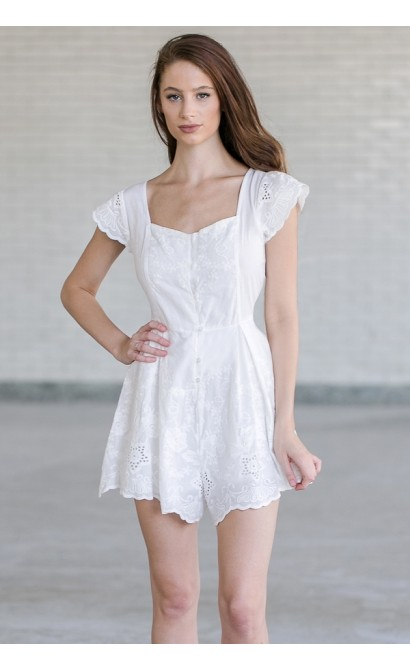 Daydreamer Eyelet Capsleeve Romper in Off White