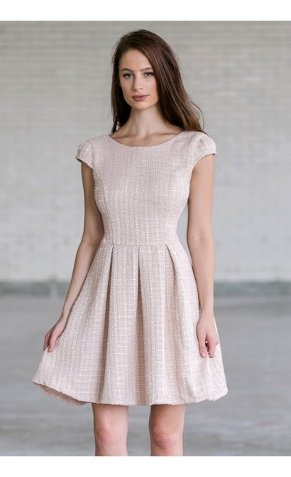 Cute Beige Tweed A-Line Work Dress