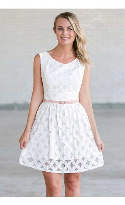 Whimsy and Wonder Petal Lace Belted A-Line Dress in Ivory