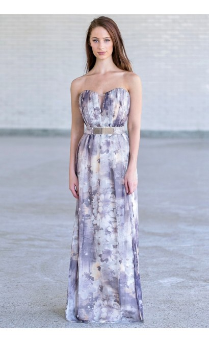 Grey Floral Print Maxi Dress Grey Floral Print Little Mistress