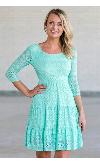 Bow Back Lace A-Line Dress in Teal