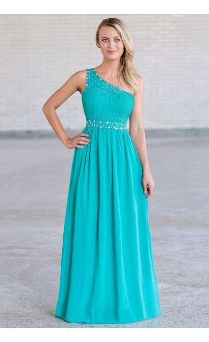 Sparkle In Style One Shoulder Embellished Maxi Dress in Teal