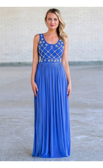 75ccc828935 Blue Pearl Maxi Formal Prom Dress