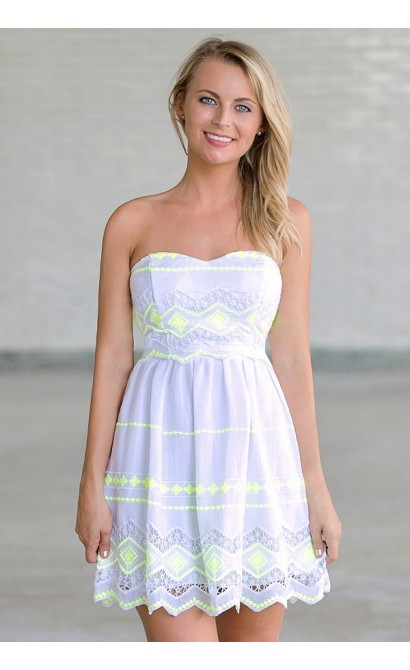 Lemon Lime Twist Embroidered Sundress