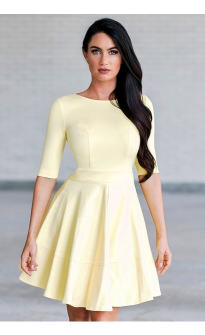 Perfect Fit and Flare Dress With Half Sleeves in Yellow