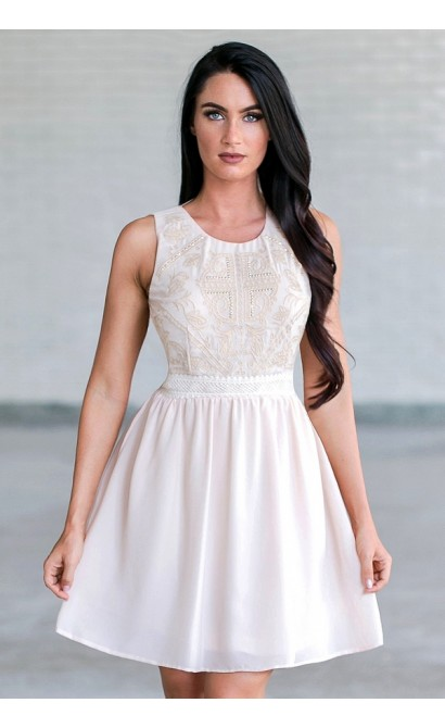 Amanda Embroidered and Embellished A-Line Dress in Cream Blush