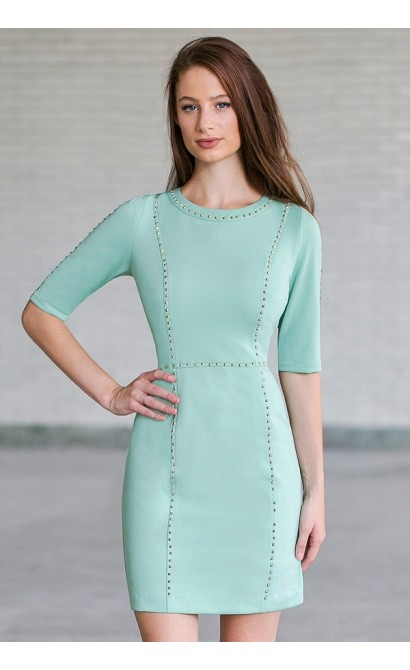 Gold Stud Embellished Sheath Dress in Green