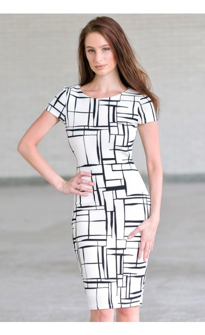 b3414d385fdc White and Black Work Dress