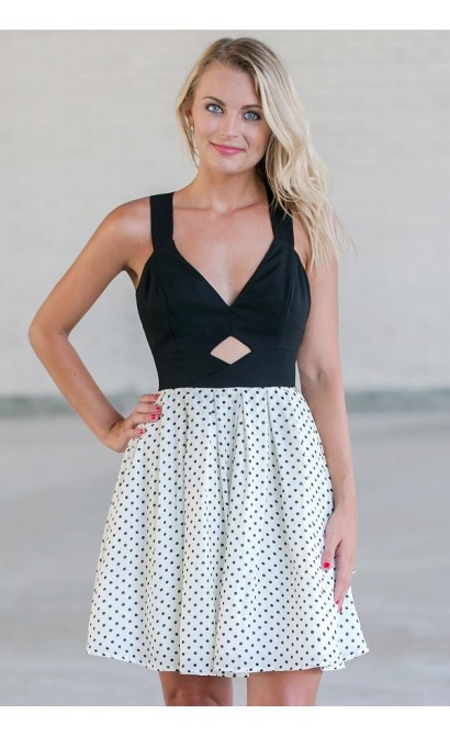 Black and White Polka Dot Dress, Cute Dot Dress