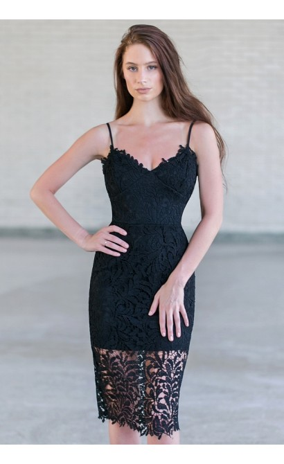 Black Lace Bodycon Dress, Cute Black Cocktail Dress