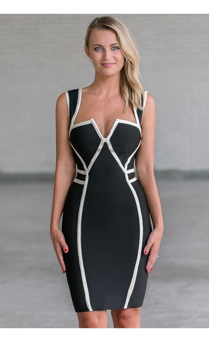 Black and White Trim Bodycon Dress, Cute Sexy Black Cocktail Dress