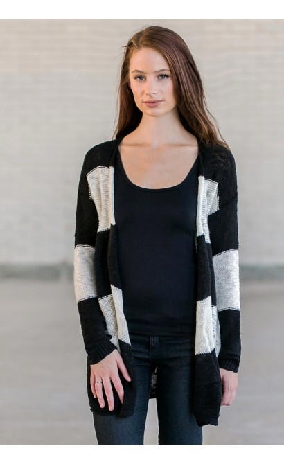 Black and Ivory Striped Sweater Cardigan, Cute Black and Ivory Top