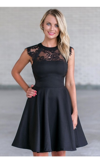 Black Lace A-Line Party Dress, Cute Little Black Dress Online