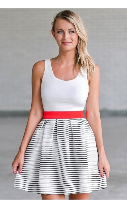 Black and White Stripe A-Line Dress, Cute Summer Dress Online
