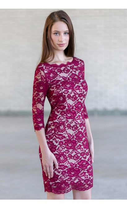 Wine Purple Lace Sheath Dress, Cute Wine Dress Online