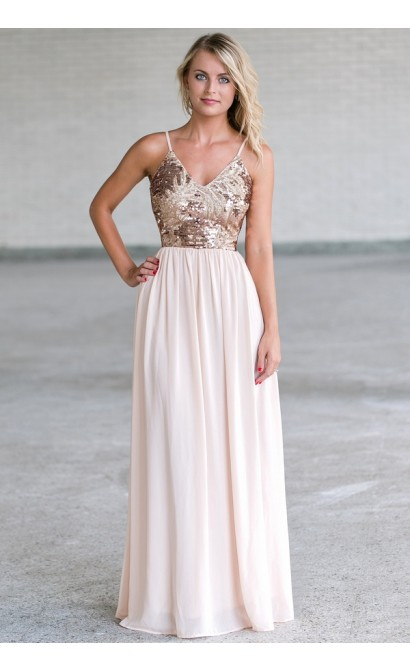 Cream and Gold Sequin Maxi Dress, Cute Sequin Formal Prom Dress