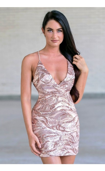 f2d772c9 Rose Gold Sequin Cocktail Dress, Cute New Years Eve Sequin Dress ...