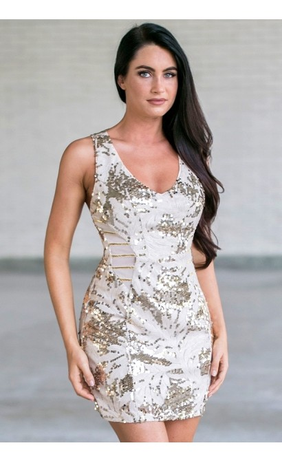 Gold Sequin Cocktail Party Dress