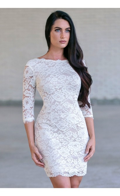 Cream Lace Tail Dress Cute Rehearsal Dinner Bridal Shower