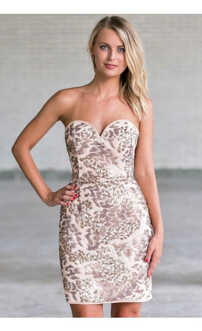ceaaf376707d Beige Sequin Strapless Cocktail Dress, Cute Sequin New Years Eve ...