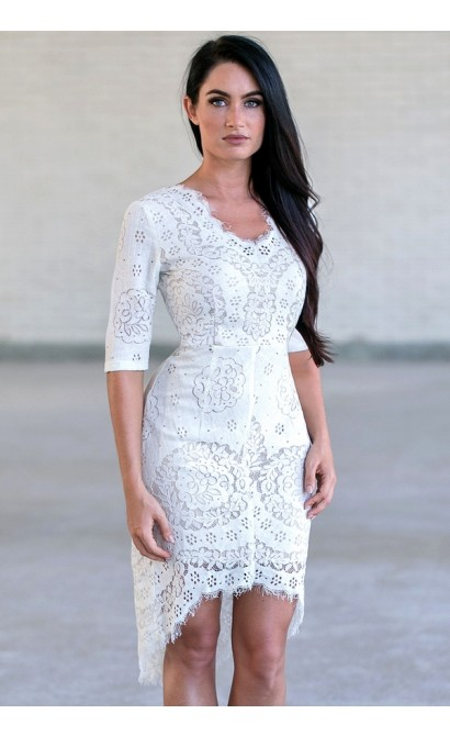 Ivory Lace Sheath Dress, Ivory Lace Party Dress, Cute Rehearsal Dinner Dress