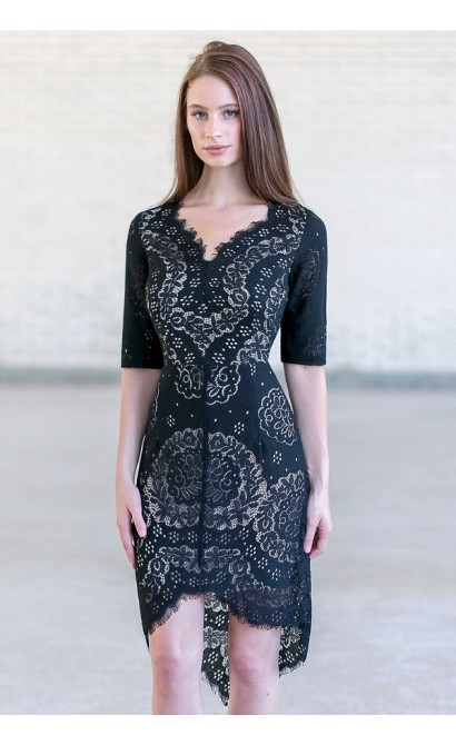Black Lace High Low Sheath Dress Cute Black Cocktail Dress Lily