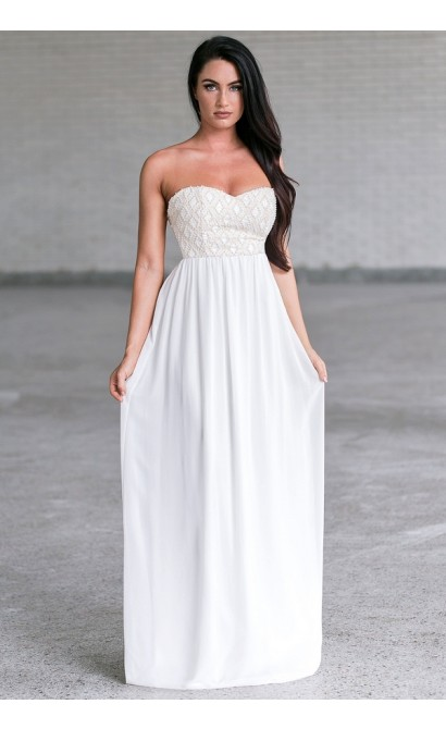 Ivory Pearl Wedding Maxi Dress, Gorgeous Formal Prom Gown
