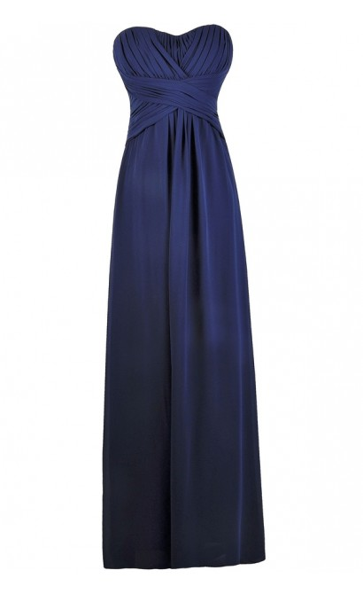 Navy Maxi Bridesmaid Dress, Cute Formal Strapless Dress