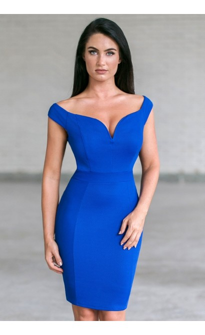 Royal Blue Off Shoulder Pencil Dress, Blue Cocktail Dress