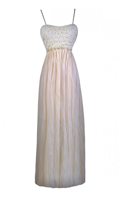 Beige Boho Maxi Dress, Cute Juniors Summer Maxi