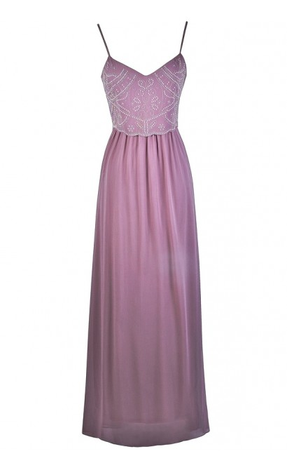 Purple Beaded Maxi Prom Bridesmaid Dress