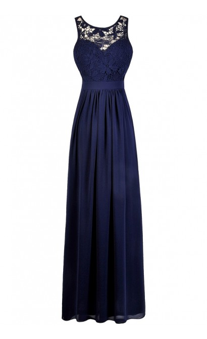 Navy Lace Maxi Bridesmaid Dress