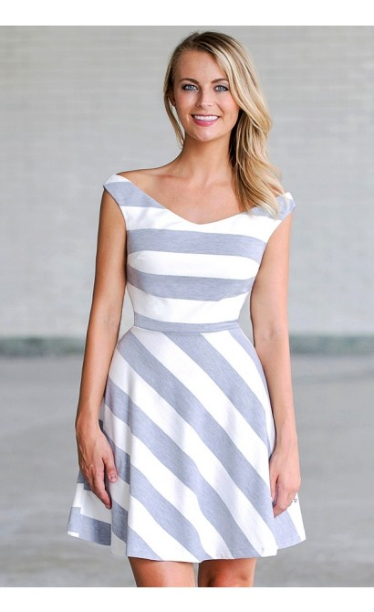 Grey and White Stripe Dress, Cute Summer Dress