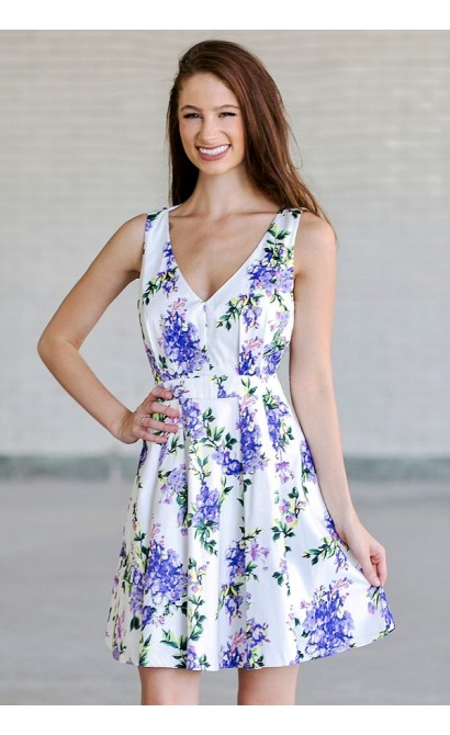 Purple Floral Print A-Line Dress, Cute Summer Dress