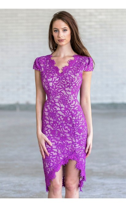 Magenta Purple Lace Cocktail Dress | Summer Lace Pencil Dress