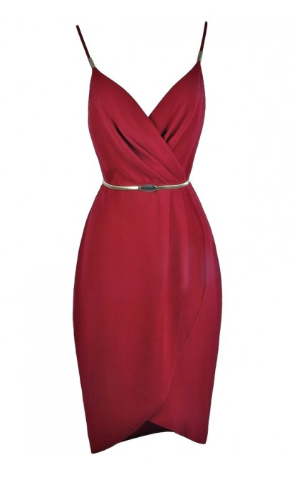 burgundy red wrap dress, cute burgundy party dress