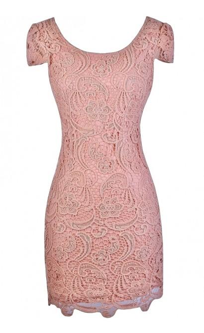 Pink Lace Pencil Dress