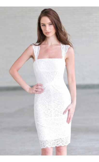 White lace cocktail dress, white rehearsal dinner dress