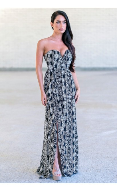 black and white printed maxi dress, cute vacation dress