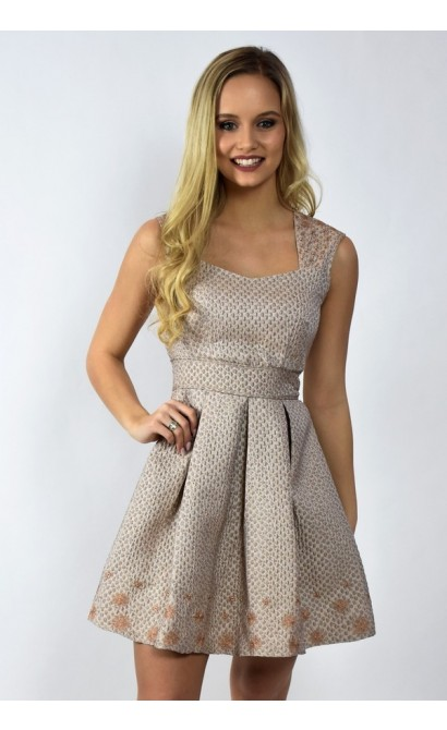 Mocha Light Brown Metallic Holiday A-Line Party Dress