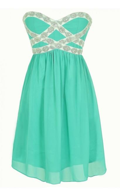 Sparkling Splendor Embellished Chiffon Designer Dress by Minuet in Teal