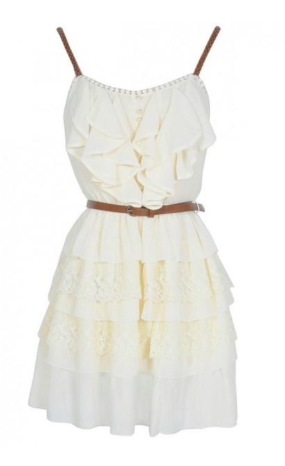 Nashville Nostalgia Belted Ruffle Dress in Ivory