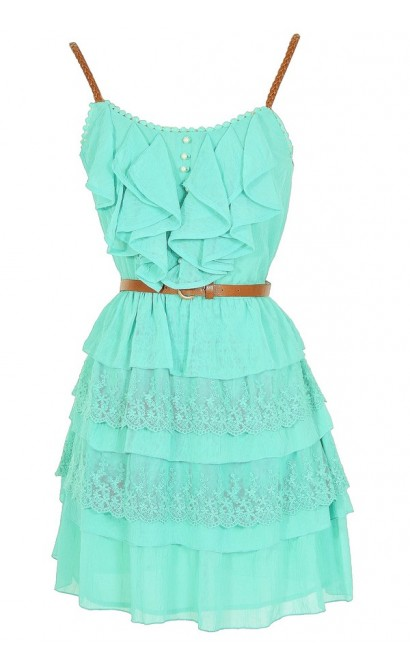 Nashville Nostalgia Belted Ruffle Dress in Mint