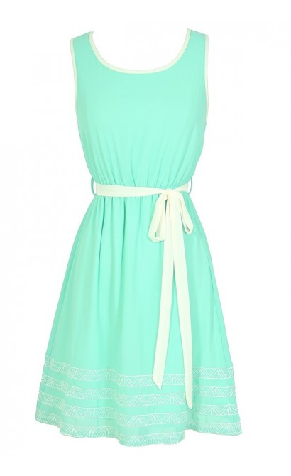 At An Angle Contrast Trim Dress in Mint
