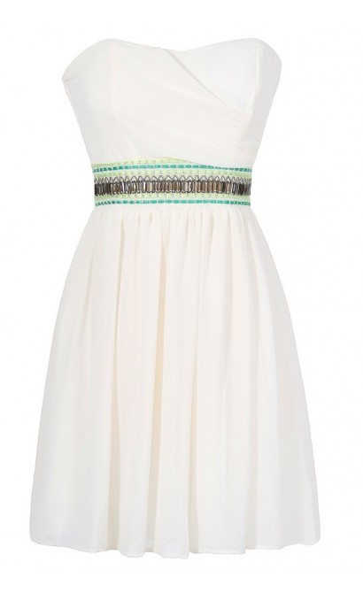 Midnight In Morocco Dress in Ivory/Green
