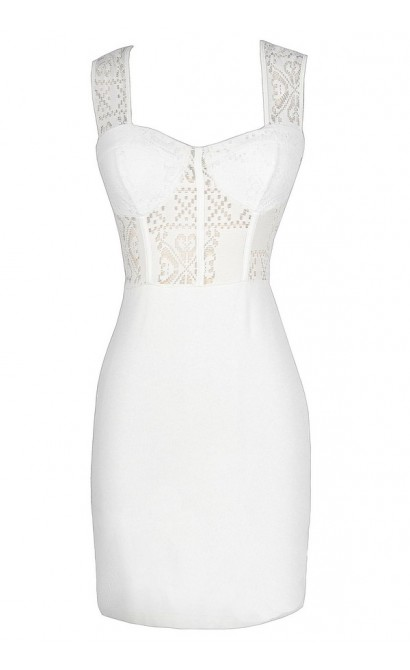 Hole In One Bustier Bodycon Dress in Ivory