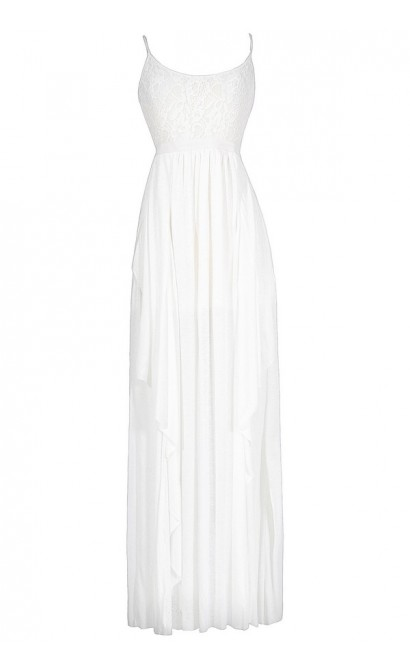 Layered Lace Maxi Dress in White