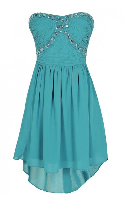 Beads of Light Embellished High Low Dress in Turquoise