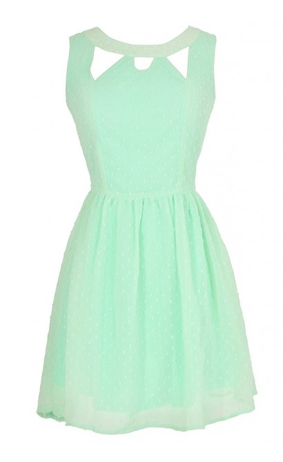 Jessica Pearl Embellished Cutout Dress in Mint