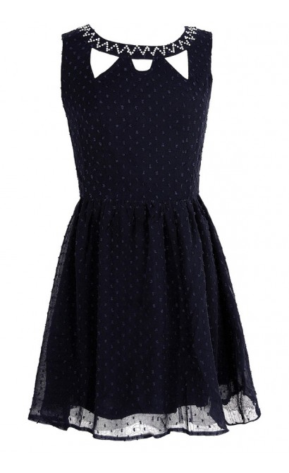 Jessica Pearl Embellished Cutout Dress in Navy
